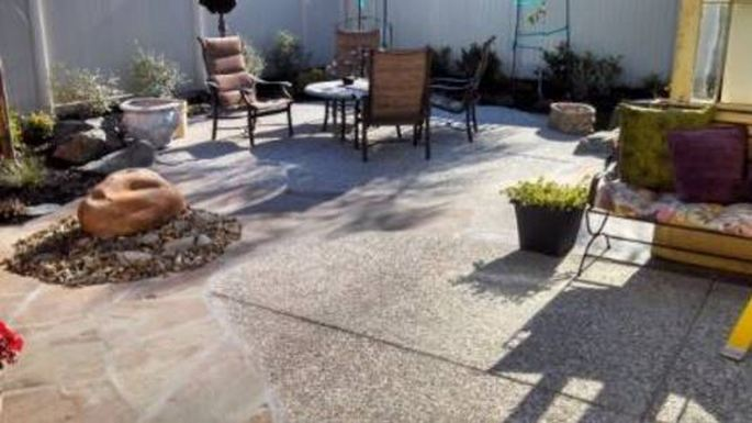 a picture of a concrete patio resurface in tracy, ca